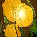 Tulipes en peinture vitrail ou faux vitrail