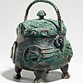 A very rare and exceptional bronze ritual owl-form wine vessel, xiao you, late shang dynasty, 12th-11th century bc