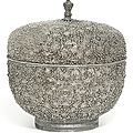 An unusual silver bowl and cover, maker's mark zf, venice, probably late 17th century