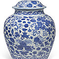 A large blue and white jar and cover, wanli period (1573-1619)