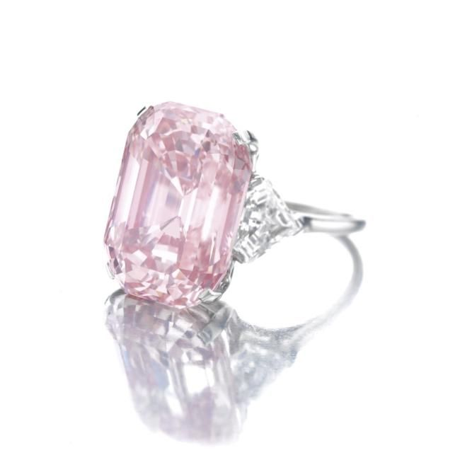 bague diamant rose rectangulaire