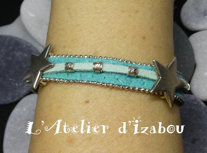 P1020402_Bracelet_femme__toile_et_perles__daim_bord__de_chaine_bleu_vert_et_daim_vert_d_eau