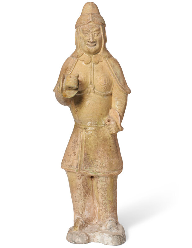 A straw-glazed pottery figure of a soldier, Sui dynasty (AD 581-618)