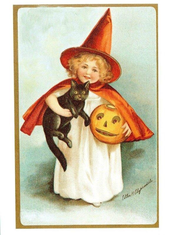 CPA Halloween Enfant Citrouille Chat