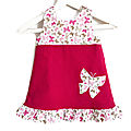 Robe fille printemps 2-3 ans papillons velours fuchsia