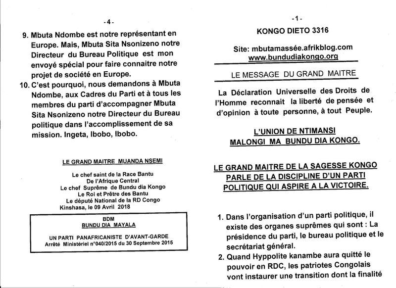 LE GRAND MAITRE DE LA SAGESSE KONGO PARLE DE LA DISCIPLINE D'UN PARTI POLITIQUE QUI ASPIRE A LA VICTOIRE a