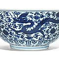 A large blue 'dragon' bowl, Jiajing mark and period (1522-1566)