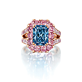 An exceptional rectangular-cut fancy vivid blue diamond ring, by moussaieff