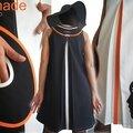 Robe trapèze Chasuble Noire blanc cassé et Orange Couture tendance 2014 Fantaisie et originale