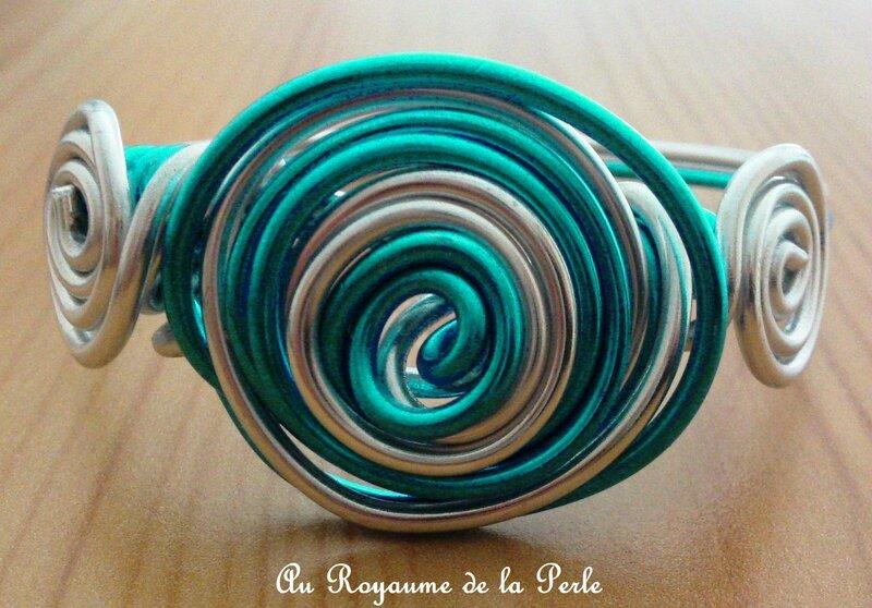 Bracelet alu turquoise et argenté A