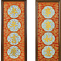A rare pair of imperial iron-red and gilt-decorated panels, qing dynasty, qianlong – jiaqing period