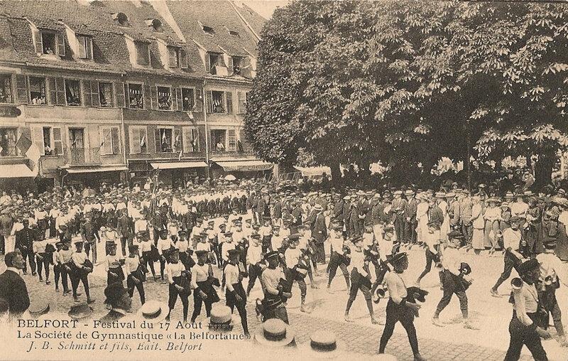 1913 08 17 Belfort CPA Festival Musique Défilé Belfortaine