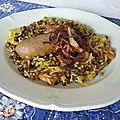 Lentilles au riz et saucisses - mujaddara libanais