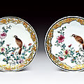 A fine pair of famille rose dishes. yongzheng (1723-1735)