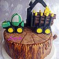 Gâteau camion de bûcheron et souche d'arbre - lumberjack truck and tree stump cake
