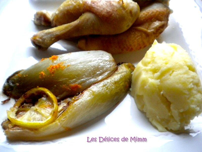 Coquelet au lait et au citron, endives à l'orange et purée de pommes de terre 2