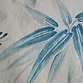 15-314 tissu ancien japonisant impression bleue