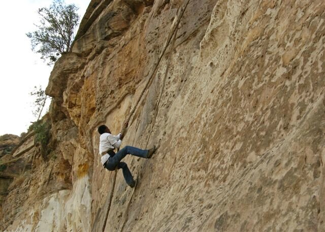 mearg climbing to the monastery of debredamo