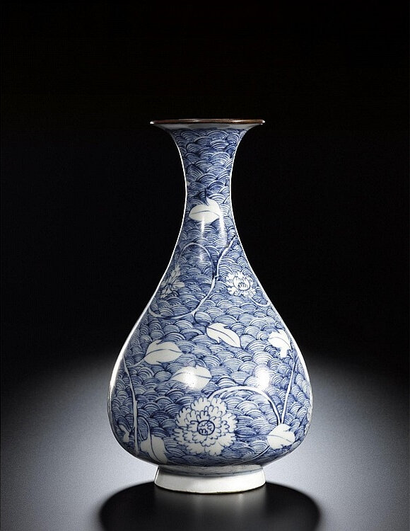 A rare blue and white 'peony and wave' vase, Yuan dynasty