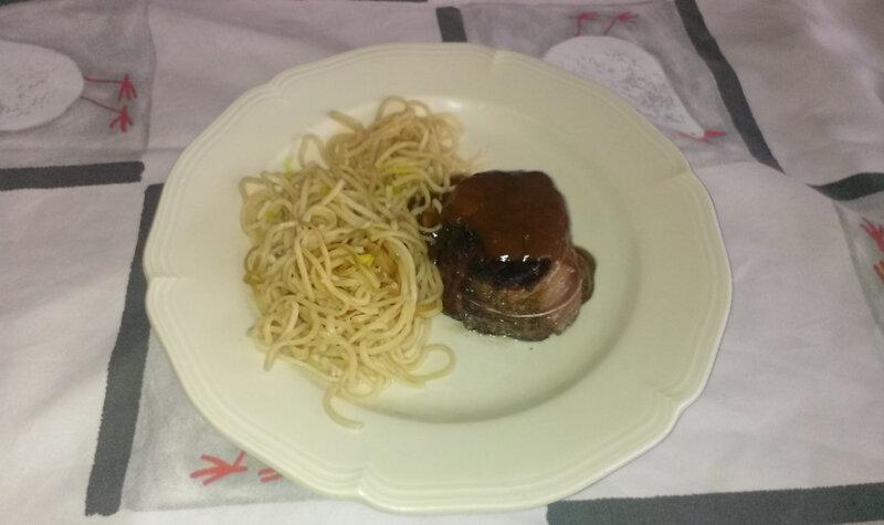 Tournedos de bœuf à la sauce asiatique et spaghetti à la sauce citron1