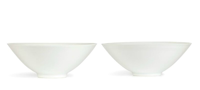 A pair of anhua-decorated white-glazed winecups, Qing dynasty, Kangxi period