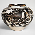 A rare finely painted and incised 'cizhou' 'birds' jar, jin-yuan dynasty (1115-1368)