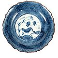 A blue and white dish. chongzhen, 1628-1644, for the japanese market