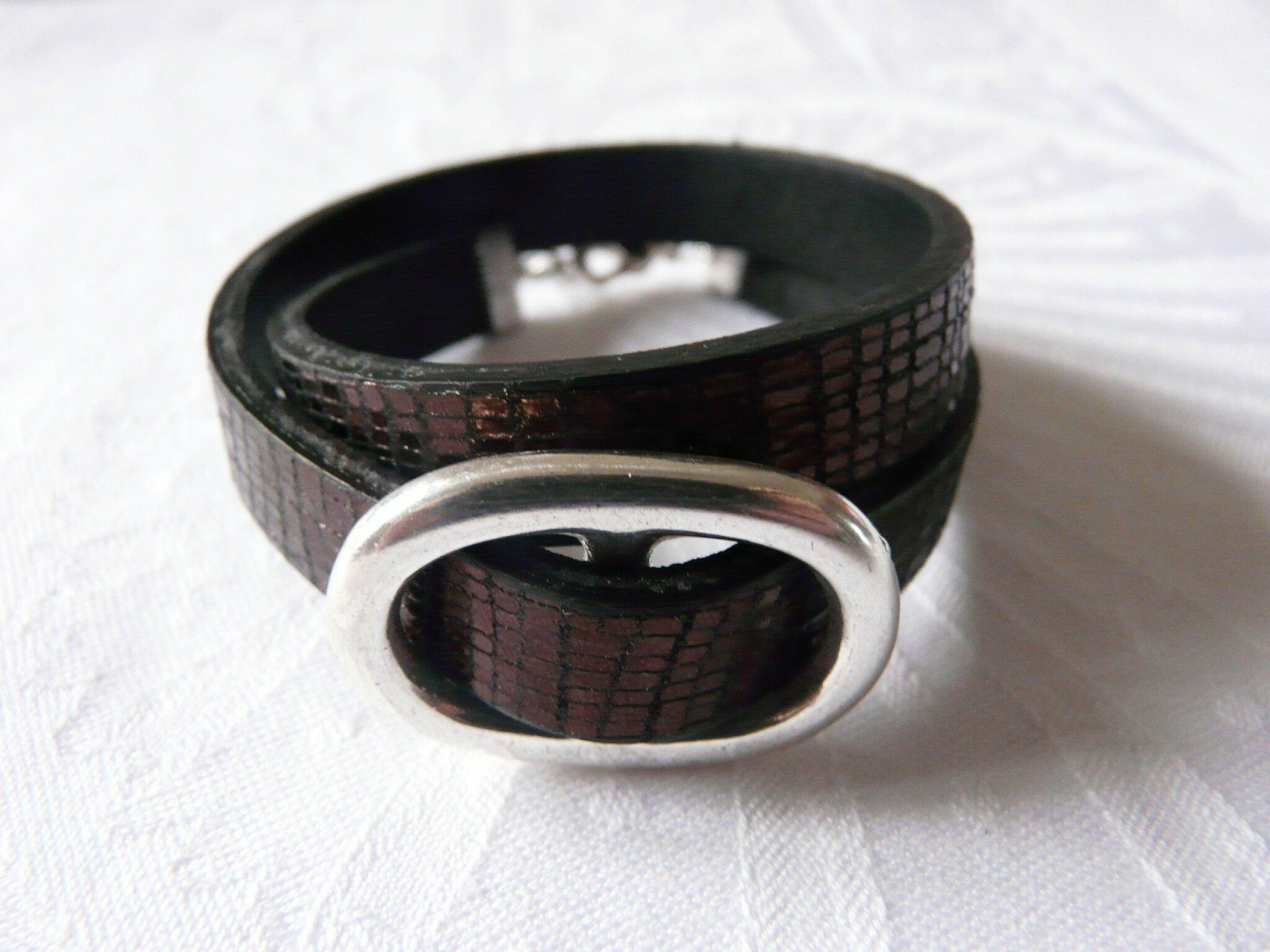 Bracelet double Grain de Café (strassé chocolat)-001