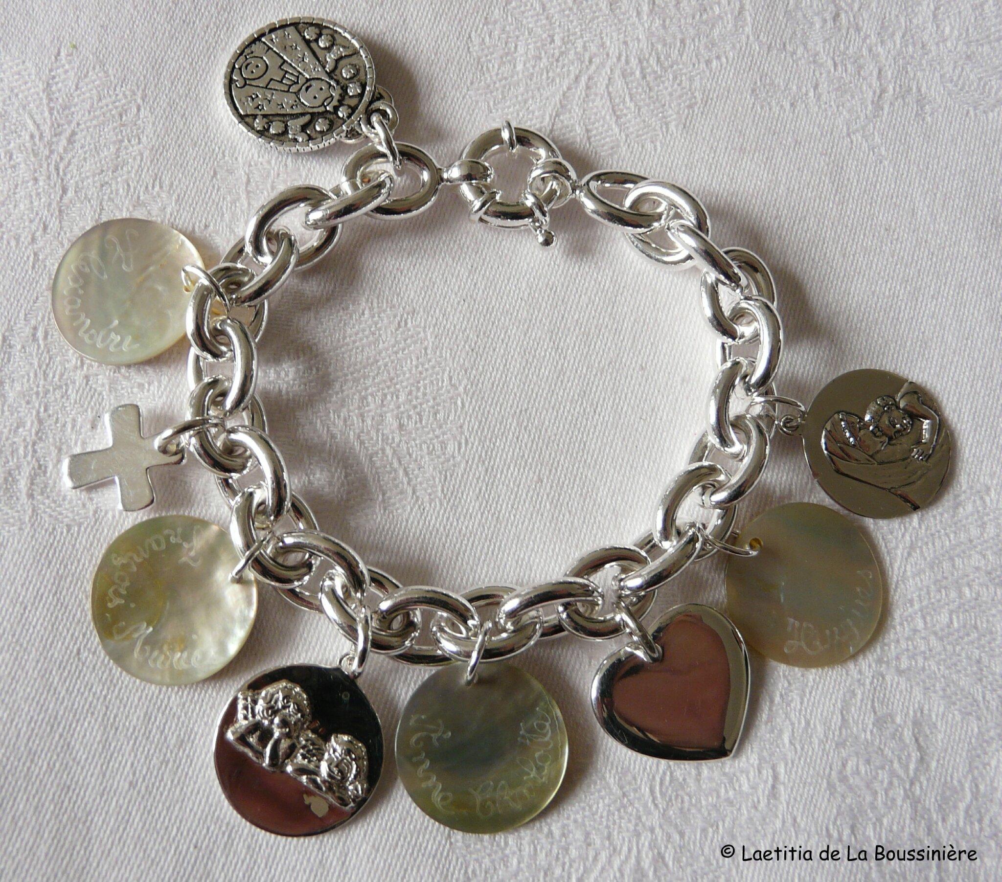 Bracelet personnalisé sur chaîne plaqué argent ovale