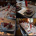 Deco de table argent blanche et rouge