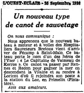 CH12 - Article de presse - passage a St Malos - CV de Kerros