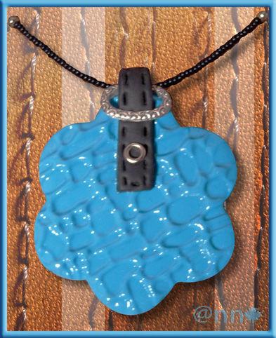 Collier fleur fimo turquoise cuir et ceinture (N)