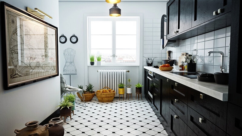 Spot-tiled-floor-black-cabinetry-Scandinavian-kitchen