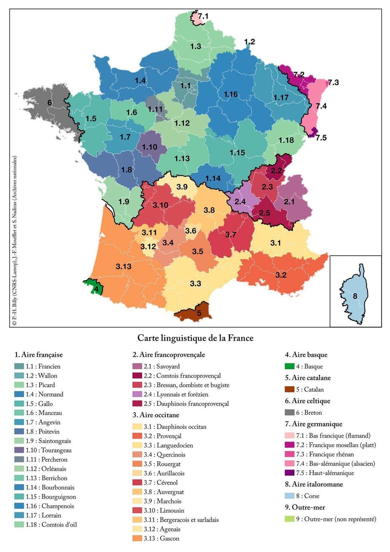 A map of dialects and regional languages of France
