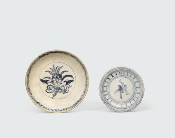 Two blue and white small saucer dishes, Lê dynasty, 15th-16th century