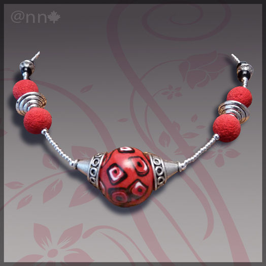Collier maxi boule rouge et noir, argent (N)