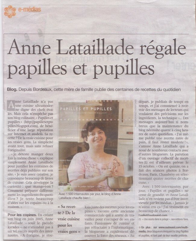 anne de papilles et pupilles dans le journal sud ouest. Black Bedroom Furniture Sets. Home Design Ideas