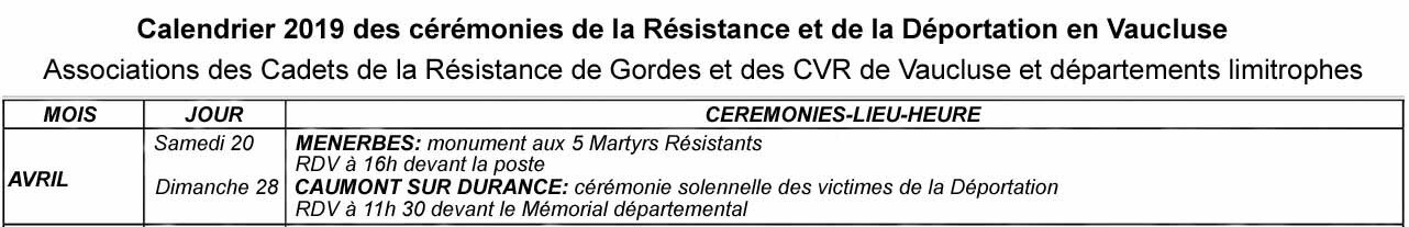 Le calendrier 2019 des cérémonies de la RESISTANCE et de la DEPORTATION en Vaucluse