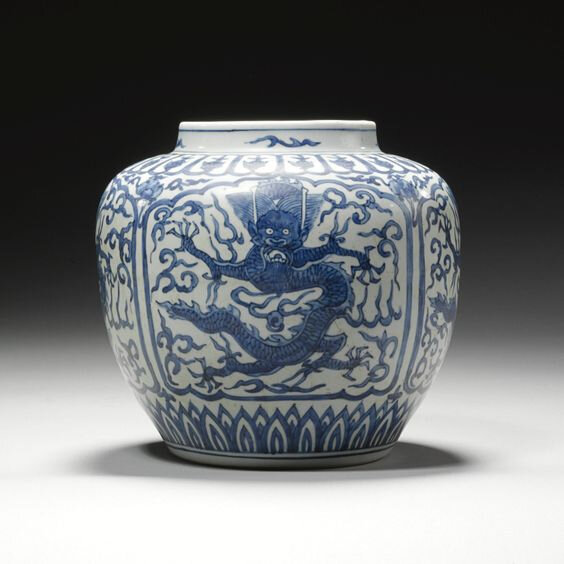 A blue and white jar, Wanli mark and period (1573-1619)