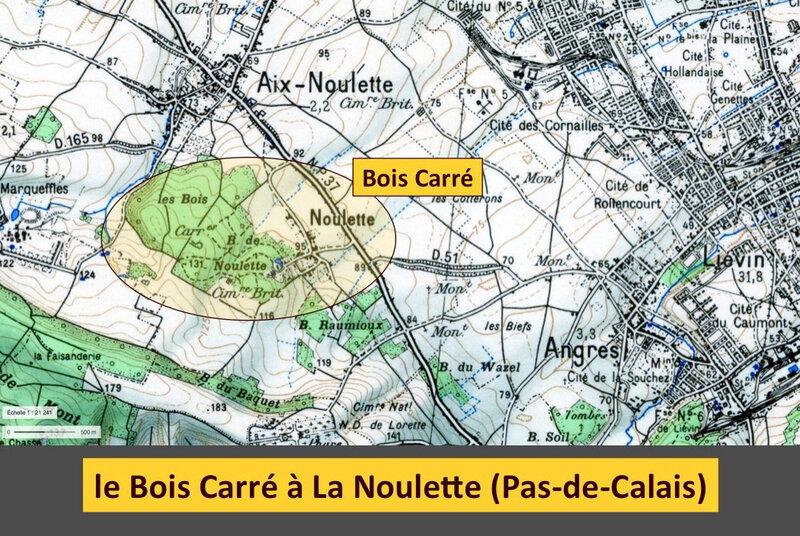 le Bois Carré à La Noulette, carte IGN 1950, légendé