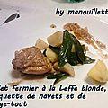 Poulet fermier à la leffe blonde, blanquette de navets et de mange-tout