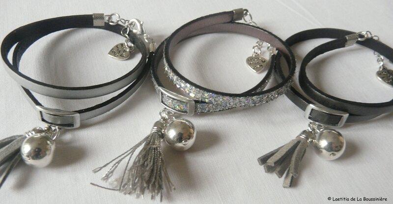 bracelet suedine pompon