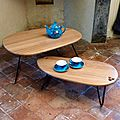 Table gigogne chêne massif, arrondie