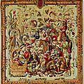 Deux tapisseries relatant de façon stylisée les aventures de don quichotte et de sancho pança. manufacture anglaise de mortlake