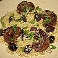 Rognons d'agneaux au cumin à la plancha et boulgour aux olives