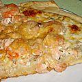 Pizza saumon et crevettes