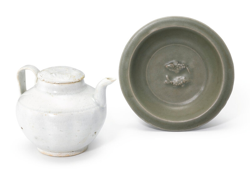 A Qingbai ewer and cover and a small celadon-glazed 'fish' dish, Song dynasty (960-1279)