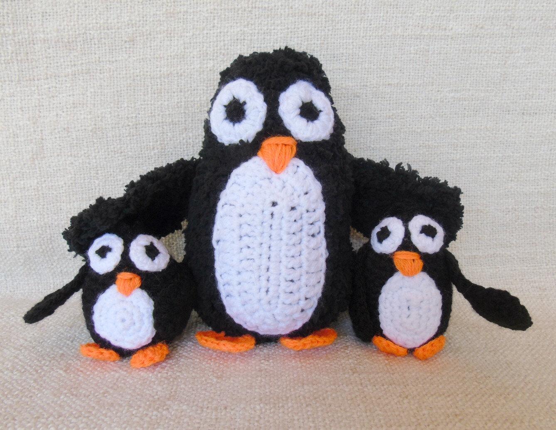 pingouin-manchot-au crochet-famille