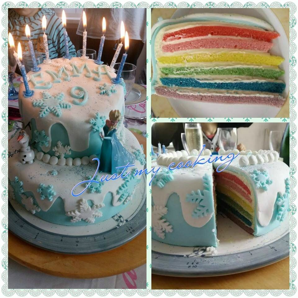 rainbow cake reine des neiges just my cooking mes p 39 tites recettes. Black Bedroom Furniture Sets. Home Design Ideas