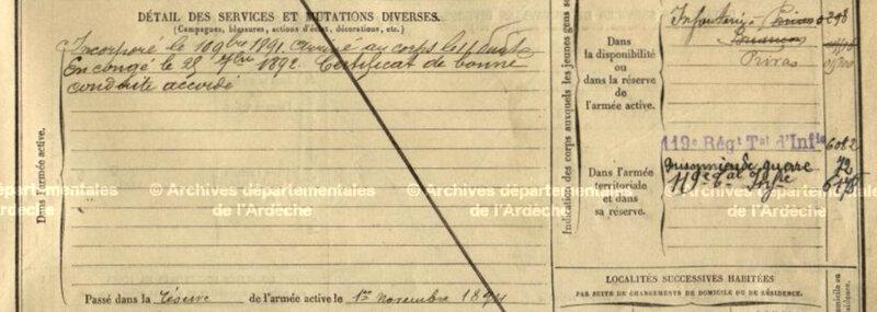 Joseph Mourier, fiche matricule (2)